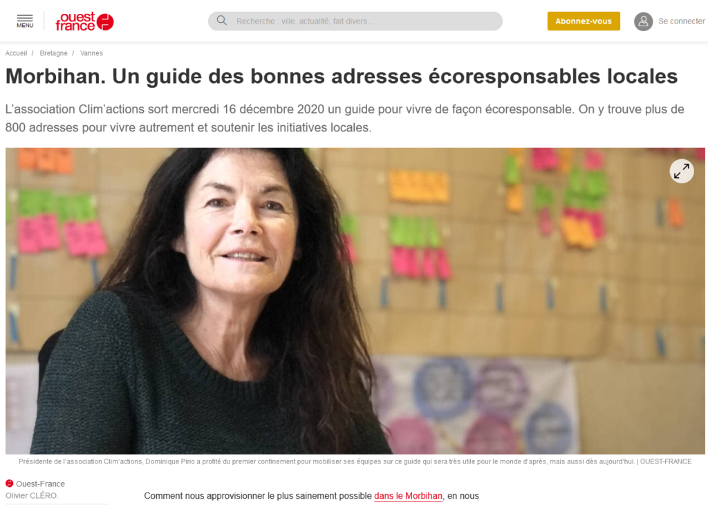 Article Ouest France L'Écolocal 15-12-20